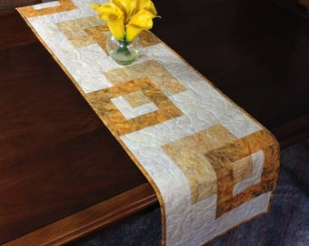 Modern Batik Table Runner, Handmade Gold Quilted Tablerunner, Gold Cream Wallhanging, Reversible Table Quilt, Contemporary Dining Decor