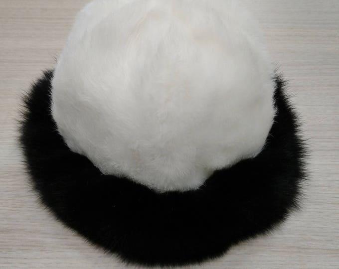 Real Hat Rabbit and Fox Fur Winter Hat  F607
