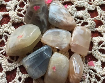 Moonstone Parcels -8 Pieces   Feminine and Lunar Energy, Emotions, Automatic writing, Tumbled Stones, Polished Stones, Healing Stones,