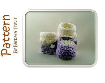 Crochet Pattern Mary Jane Baby Bootie 3 sizes