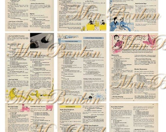 Digital Collage Sheet of Vintage and Retro Cookbook  Pages and Backgrounds - INSTANT DOWNLOAD