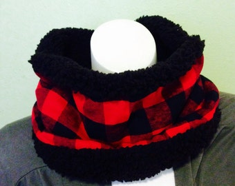 Red Buffalo Plaid and Black Sherpa Faux Fur Cowl, Reversable Cowl, Lumberjack Scarf, Red and Black Plaid Scarf, Unisex Scarf, Red Plaid Cowl