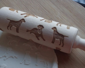 Mini laser engraved rolling pin with Labrador dog