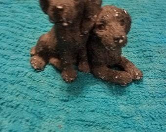 Grey Black Dogs Statue Figurine