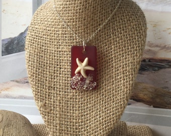 Red Sea glass necklace ~ beach glass jewelry~ Seaglass Pendant~ sand necklace~ sea glass jewelry ~ starfish OOAK boho necklace~ ladies gifts