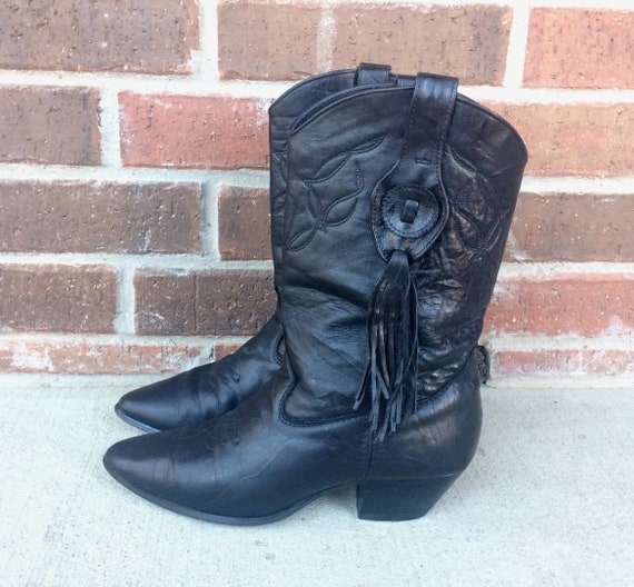 black western hippie rockabilly FRINGE boho 70s BOOTS 8 COWBOY vtg leather R5Uw6TWq