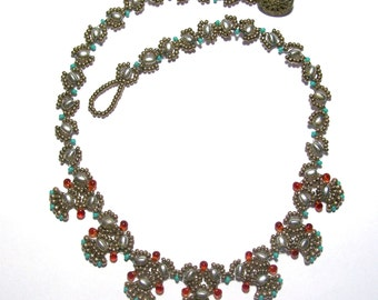 Turquoise, Pewter, Rust Bead Woven Narrow Flat Collar Necklace by Carol Wilson of Je t'adorn
