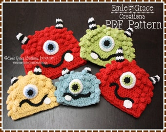 Crochet Monster Hat Pattern, Silly Beanie, BRONSTER and MISSY MONSTER - pdf 104