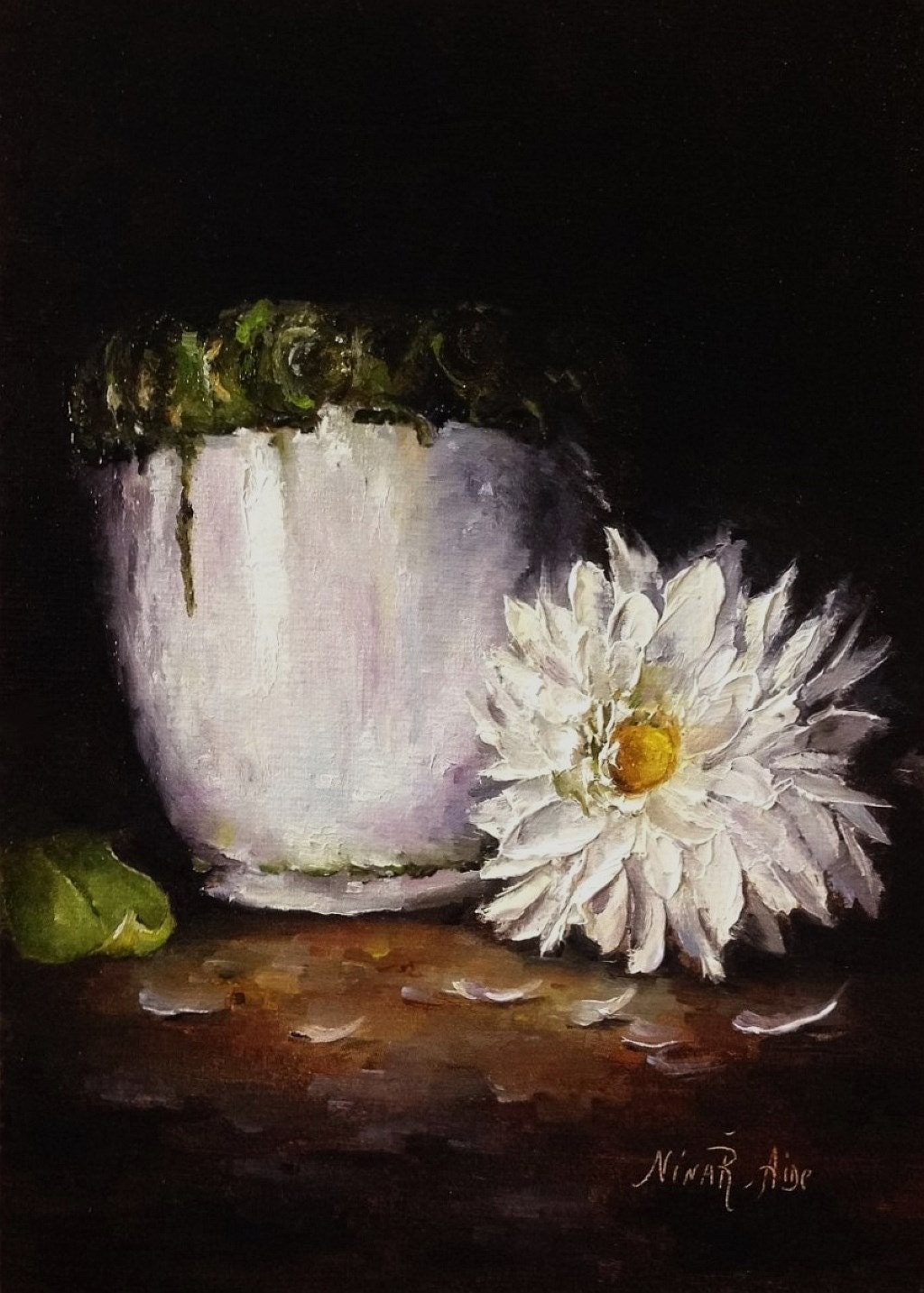 Daisy Original Oil Painting Nina R Aide Still Life Small # Muebles Lifetime Espana
