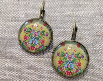 Stud Earrings - Bohemian, Indian glass cabochons