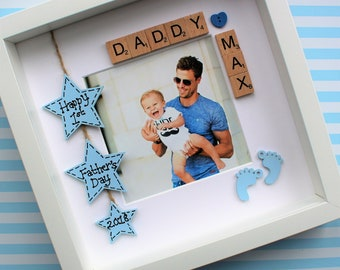 First 1st Father's fathers daddy dad Newborn baby Gift Present Photo Frame personalised Birthday New Dad  mothers mum mummy mother