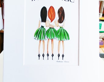 Three Irish Girls Fashion Illustration, three Irish sisters print, Irish pride illustration, three best friends, three Irish sisters print