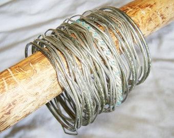38 vintage Silver tone Metal Bangle Bracelets • mixed lot