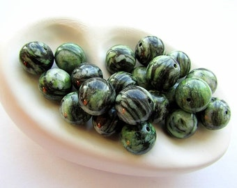 Natural Green Jasper Beads 12 mm Jasper Beads Round Natural Stone Beads Gemstone Jasper Beads Center Drilled Jewelry Supplies (10)