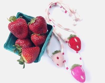 Strawberry kids necklace, berry necklace, toddler necklace, girls necklace, summer necklace, wool strawberry, felt strawberry