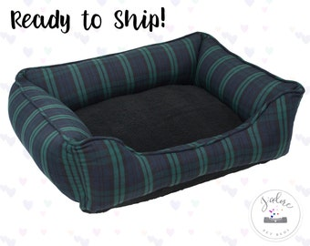 Plaid Small Dog Bed or Cat Bed | Black, Green, Navy - Washable | Ready to Ship!