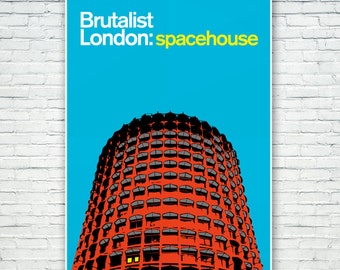 Brutalist London : Space House Illustration poster, Architecture Prints of London. Matte and Giclee Art Prints in A3 or A2 sizes. Wall Art