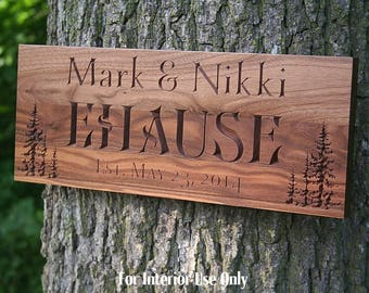 Cabin Sign, Family Name Sign, Lake House Sign, Welcome To The Lake Sign, Carved Wooden Sign, Benchmark Custom Signs, Walnut TL