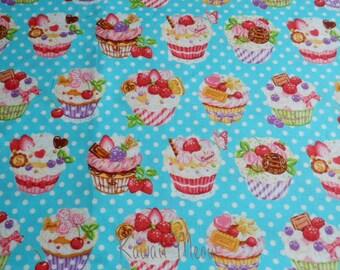SALE - Sweets Cup Cake Polka dots on Blue - Fat Quarter (12i0603)