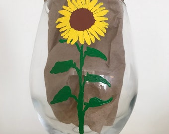 Sunflower Hand Painted Glass