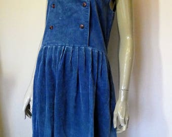 Laura Ashley, Blue, Jumbo Corduroy, Pinafore, Sleeveless Dress, Size 14