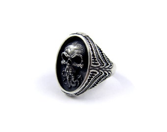 Pentagram ring Satanic ring Inverted cross ring Biker ring