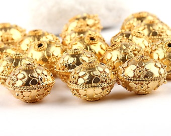 Bali Style Floral Gold Bead, 17mm, 1 piece // GBEA-067