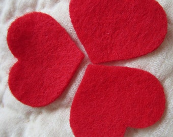 "Mini Valentine Hearts-1-1/4""-50 Small Red Felt Hearts-Valentine Felt Hearts-Conversations Hearts Shapes-DIY Felt Heart Kit-Planner Accessory"