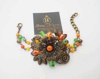 Steampunk bracelet Steampunk jewelry Victorian jewelry Gothic jewelry Colorful bracelet Vintage bracelet Victorian bracelet Gift for her