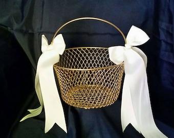 Gold Flower girl basket, gold basket, Flower Girl