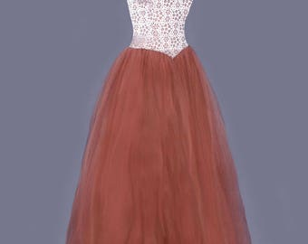 1950's Vintage Princess Ball Gown - Silver & Bronze Full Tulle Skirt - SMALL , 2/3, Evening Party dress