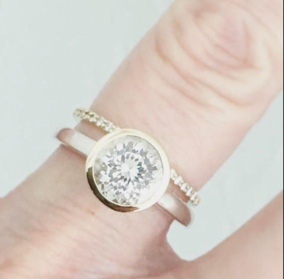 White Quartz Ring Gold and Silver Fair Trade Gemstone