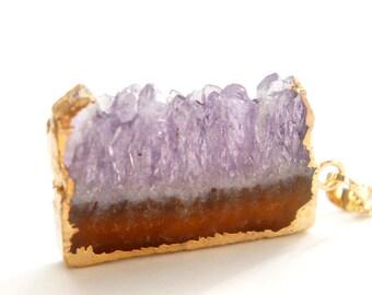 10% OFF Amethyst Druzy Slice Necklace - ADN17 - OOAK