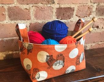 Owl Basket Organizer, Orange Polka dots Storage Basket, Fabric bin, Japanese cotton, House warming gift, Teacher gift, Mothers day gift