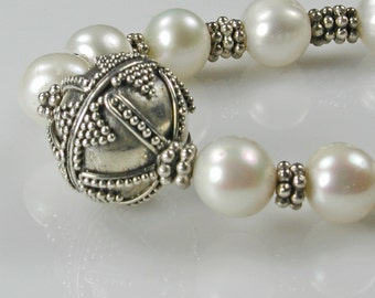 Sterling Bali Beads and White Pearls Choker Necklace