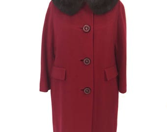 vintage 1950's cashmere mink collar coat / red / brown mink / fur collar coat / winter coat / women's vintage coat / size large