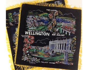 Vintage New Zealand Souvenir Painted Black Velour Cushion Covers x 2 Made in Japan Gold Fringed Square Pillow Covers Wellington and Auckland