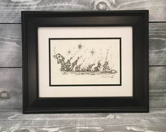 "Wall Art, Mushroom Pen and Ink Drawing Illustration Hand Sketched Artwork, Original Framed Art, Titled: ""City Of Mushrooms"", Item #498965190"