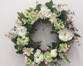 Spring Floral Wreath Pink and Green Floral Wreath Easter Wreath Spring Wreath Mothers Day Gift Grapevine Floral Wreath Front Door Decoration