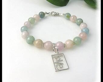 Morganite pink, peach and green beaded bracelet, charm bracelet, love charm, pink bracelet, green bracelet, healing gemstones,