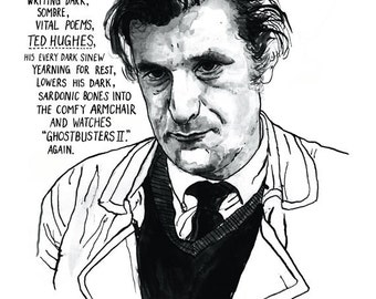 Ted Hughes Literary Poster Print Great Poet