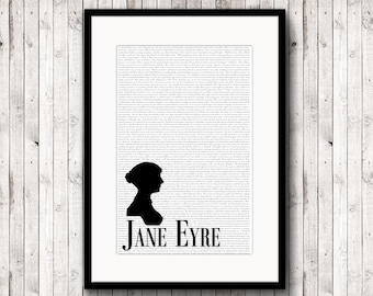Jane Eyre Text Art Poster, Charlotte Brontë, Jane Eyre Print, Charlotte Bronte, Typographic Print, Literary Poster, Jane Eyre Quote