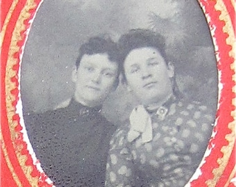 Sisters - Cute 1880's Wealthy Girls Tintype Photograph - Free Shipping