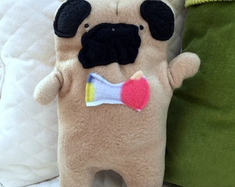 Frank ~ The Fawn Pug Bow Tie Bummlie ~ Stuffing Free Dog Toy ~ Ready To Ship Today - Polka Dot Bow Tie