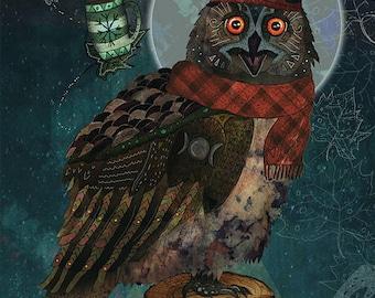 BUBO BUBO 5 x 7 Fine Art Print, Art hibou, chouette impression, impression 5 x 7 hibou, chouette Illustration, Art mural chouette, imprimé mural chouette, fantaisie, Night Owl