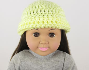"""Doll Hat in Yellow, Doll Hat for 18"""" Dolls, Crochet Doll Hat"""