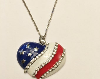 Patriotic Red White Blue Heart Pendant Necklace, Fourth of July, American Flag, Stars and Stripes, Patriotic Jewelry, USA, Gift for Her,