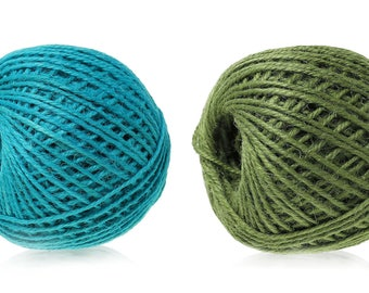 One dollar SALE Colorful jute twine - Aqua Blue or Green 5m / 16.4 ft