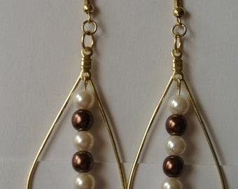 Gold Teardrop with Brown and Pearl Beads and Gold Fishhook