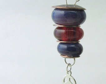 Boro Lampwork Beads Sterling Silver Stacked Necklace Peace Be With You